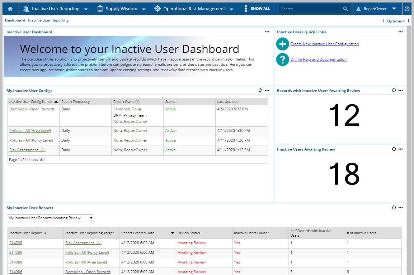Inactive User Reporting Dashboard